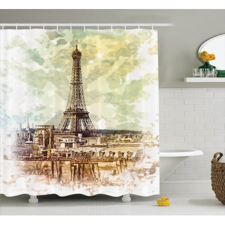 Parisian Themed Bridal Shower (Eiffel Tower Decor Shower Curtain Set, Pastel Watercolor Style Print Vintage Eiffel Tower Skyline Parisian Theme Artprint, Bathroom Accessories, 69W X 70L Inches, By)