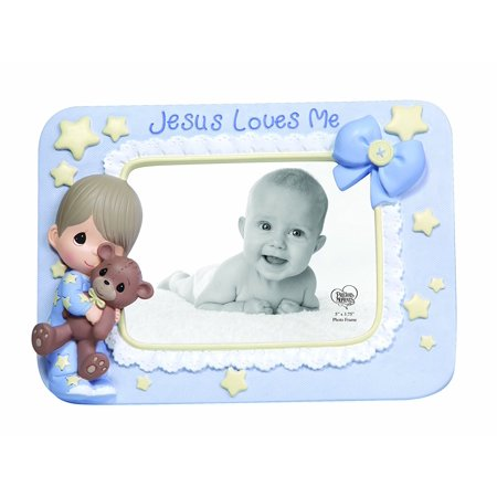 Jesus Loves Me Resin Photo Frame Boy 132401 This Design Made Especially For A Baby Boy Perfectly Displays A 3 25 X 4 5 Photo And Features