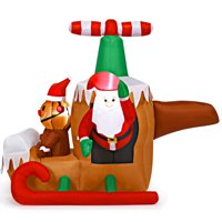 Costway 6Ft Long Inflatable Santa Claus Flying Airplane Blow Up Deals