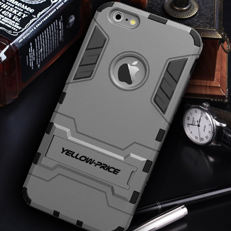 LIVEDITOR Defender Impact ShockProof Armour Stand Case Cover REAL Glass For  iPhone 6S Plus