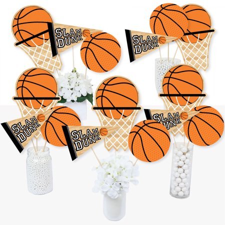Mason Jar Baby Shower Centerpieces (Nothin' But Net - Basketball - Baby Shower or Birthday Party Centerpiece Sticks - Table Toppers - Set of)