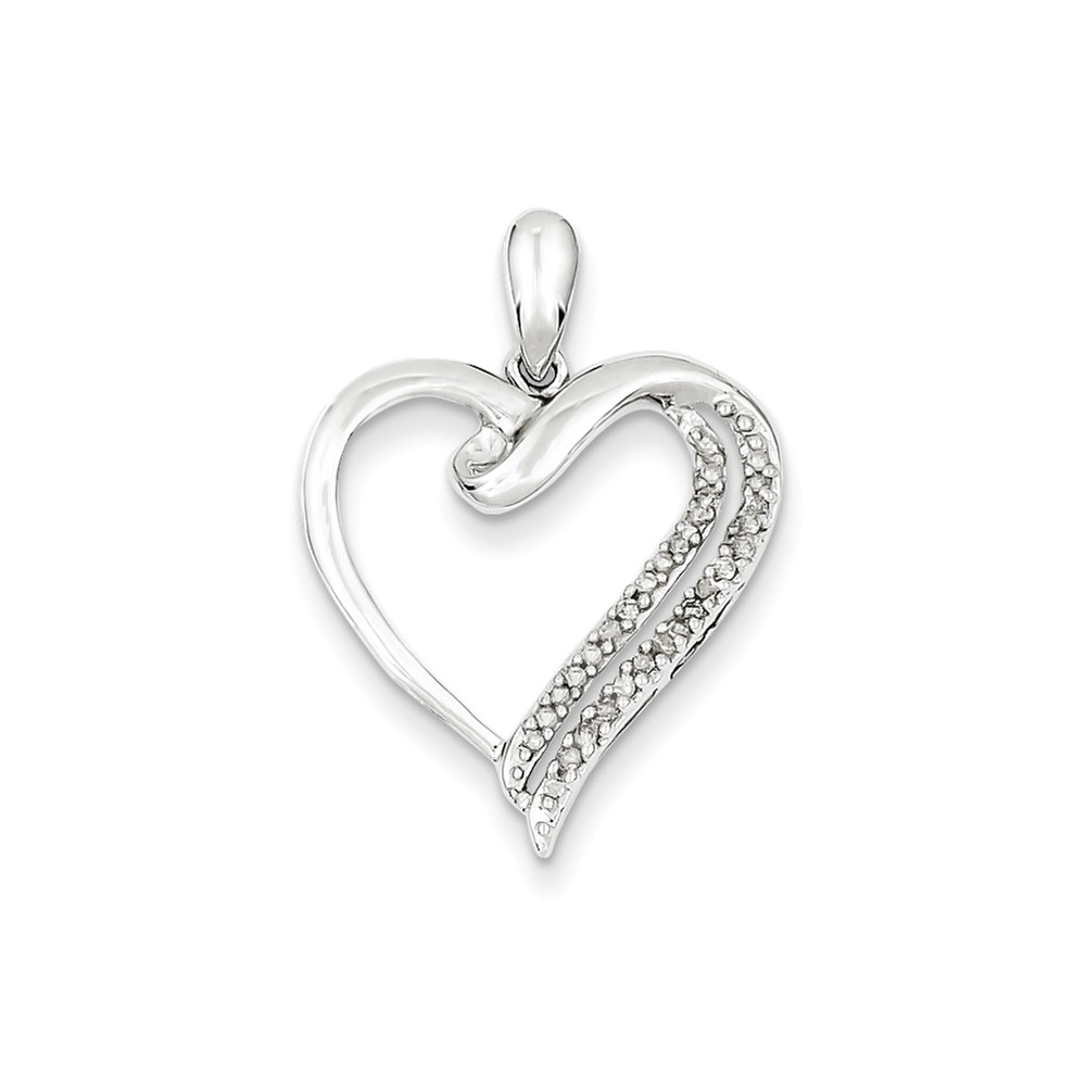 Sterling Silver Diamond Heart Pendant. Carat Wt- 0.12ct