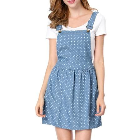 Women's Dots Pattern Adjustable Shoulder Straps Denim Overall Dress Blue (Size S / 4) Mccalls Womens Pattern Dress