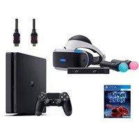 PlayStation VR Start Bundle 5 Items:VR Headset,Move Controller,PlayStation Camera Motion Sensor, Sony PS4 Slim 1TB Console - Jet Black,VR Game Disc PSVR Battlezone