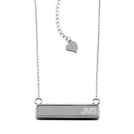 Stainless Steel Laser Engraved Personalized Name Initials Horizontal Bar Charm Necklace - Rose Laser Charm