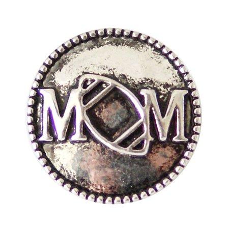 Sports Mom Charm - 1 PC - 18MM Football Mom Sports Silver Snap Candy Charm kb6925 CC2040