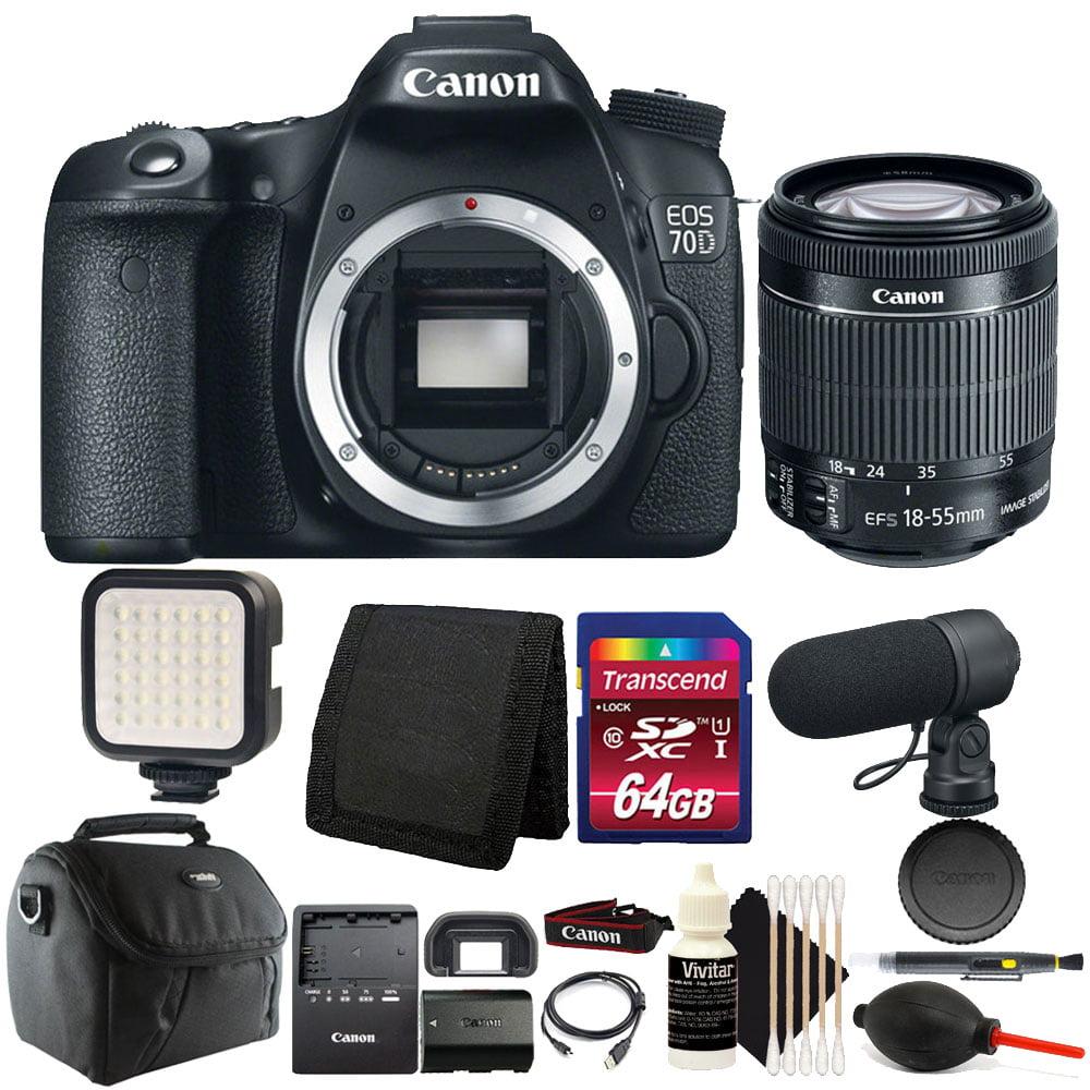 Canon EOS 70D 20.2MP DSLR Camera + 18-55mm Lens + 64GB Ad...