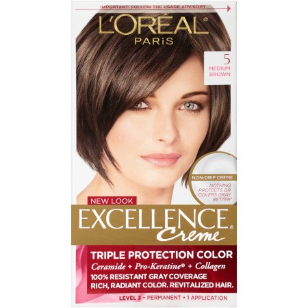 l oreal excellence creme permanent hair color medium coppery golden brown 8 43 1 74 oz pack l oreal excellence creme protection permanent hair color creme medium brown 5 1 0