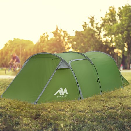 Family 2 Room Tunnel Tent with Vestibule for Camping,iClover 3 Person Ultralight Backpacking Tent with Front Vestibule,Water-Resistance Double Layer Classic 4 Season Tents for Outdoor (Best Ultralight 2 Person Backpacking Tent)