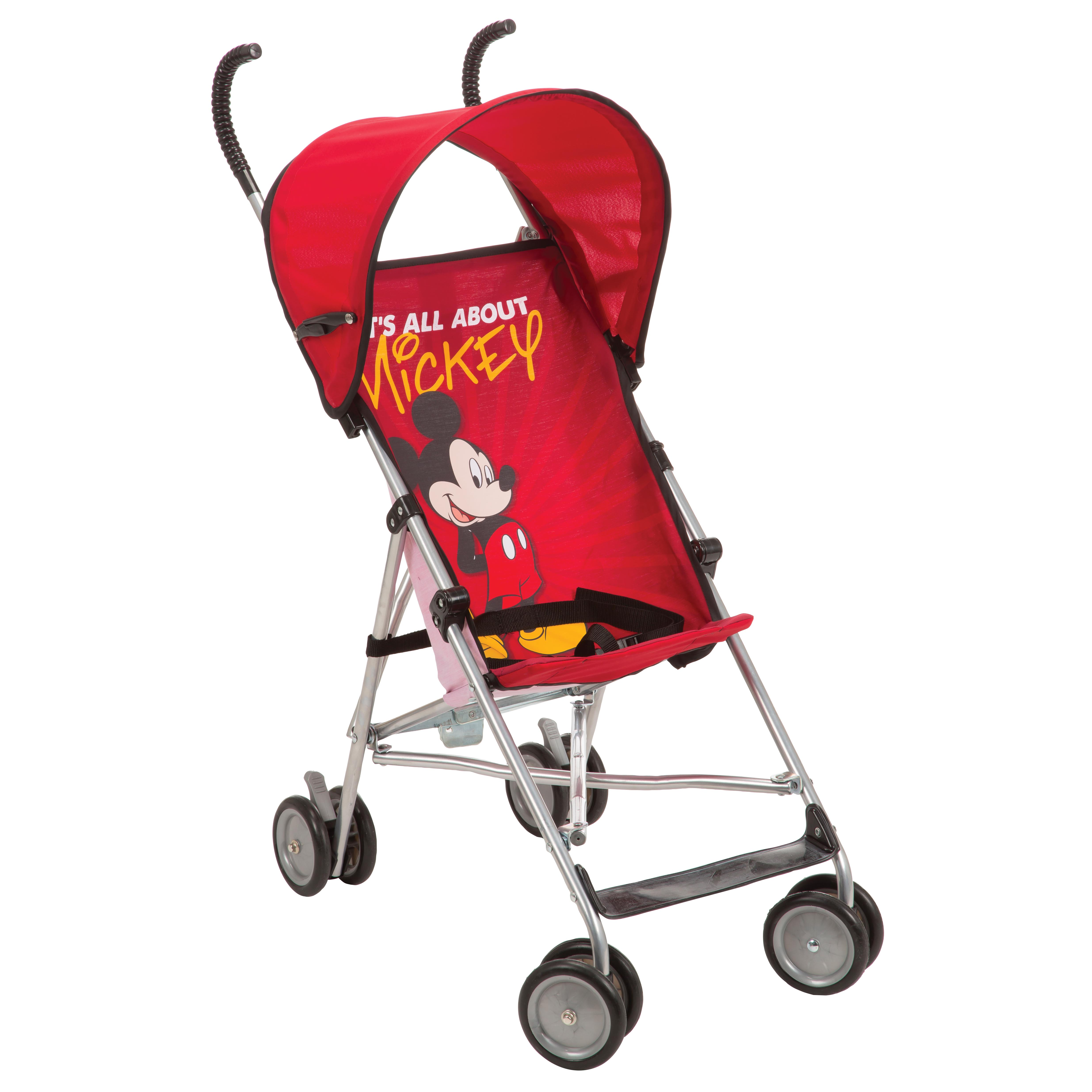 Disney Baby Mickey Mouse Umbrella Stroller with Canopy and Three-Point Harness, Foldable Design
