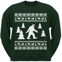 product image sasquatch ugly christmas sweater dark green crew neck sweatshirt