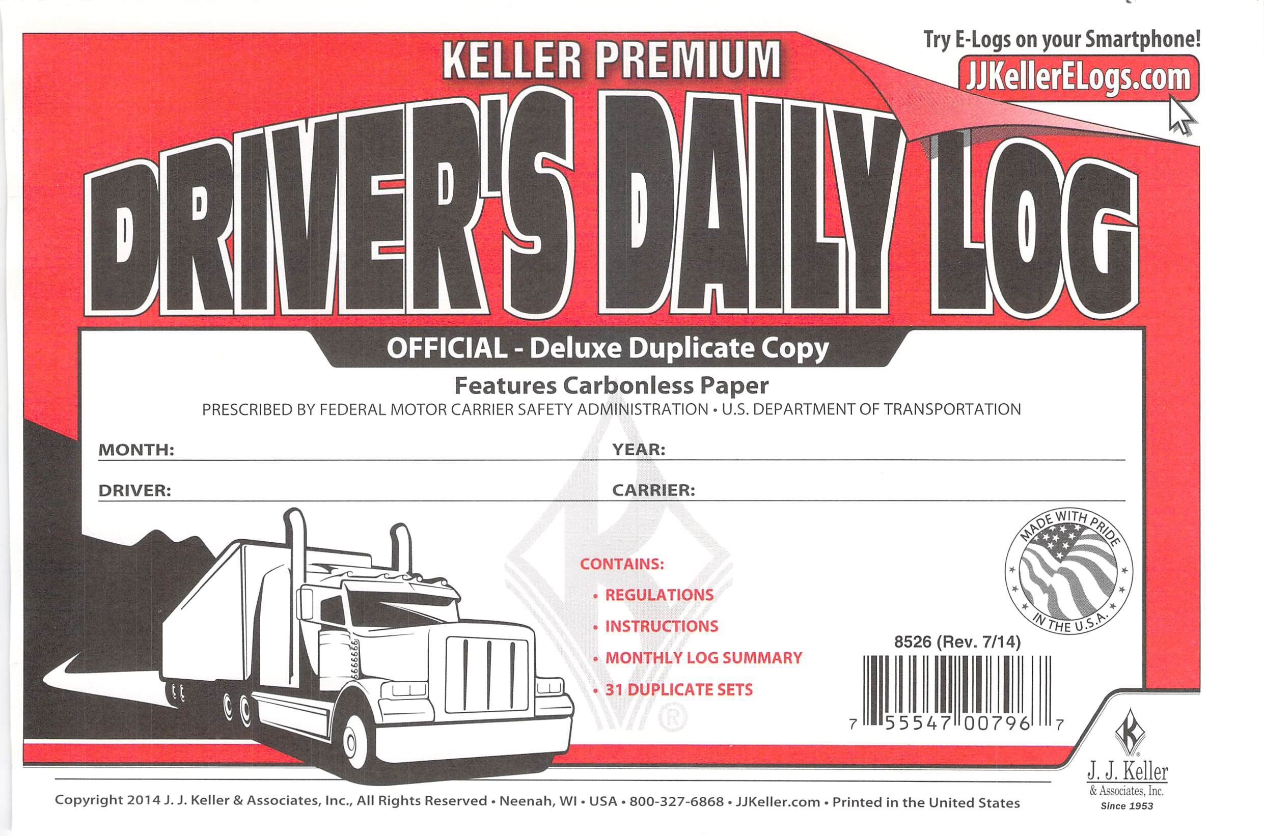 J.J. Keller 8526 701L Duplicate Copy Driver's Daily Log Book Carbonless -100 Pack by J.J. Keller
