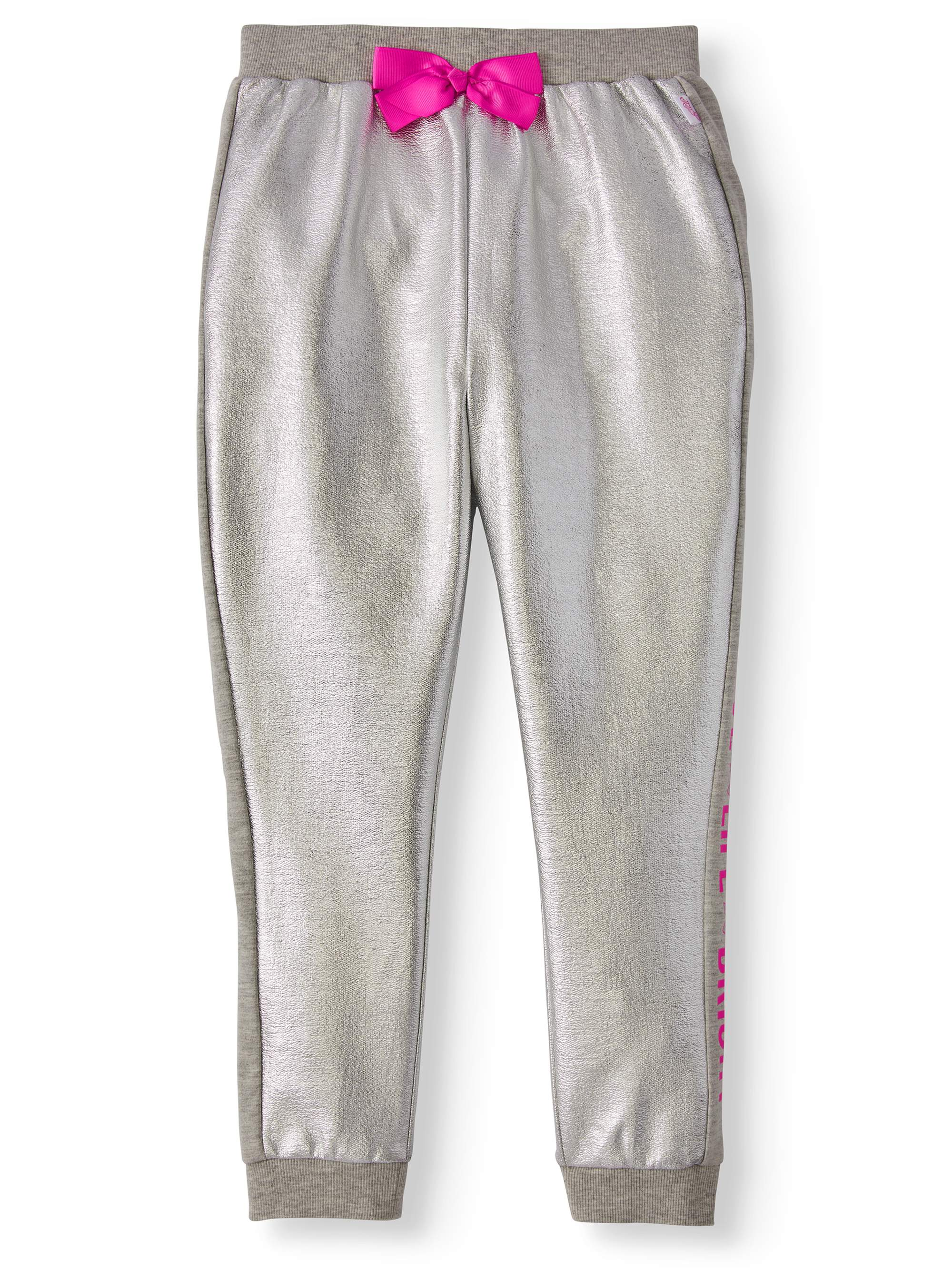 Metallic Print French Terry Bow Jogger (Little Girls & Big Girls)