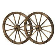 HGC Steel Rimmed Wooden Wagon Wheel Wall Decor - Set of 2