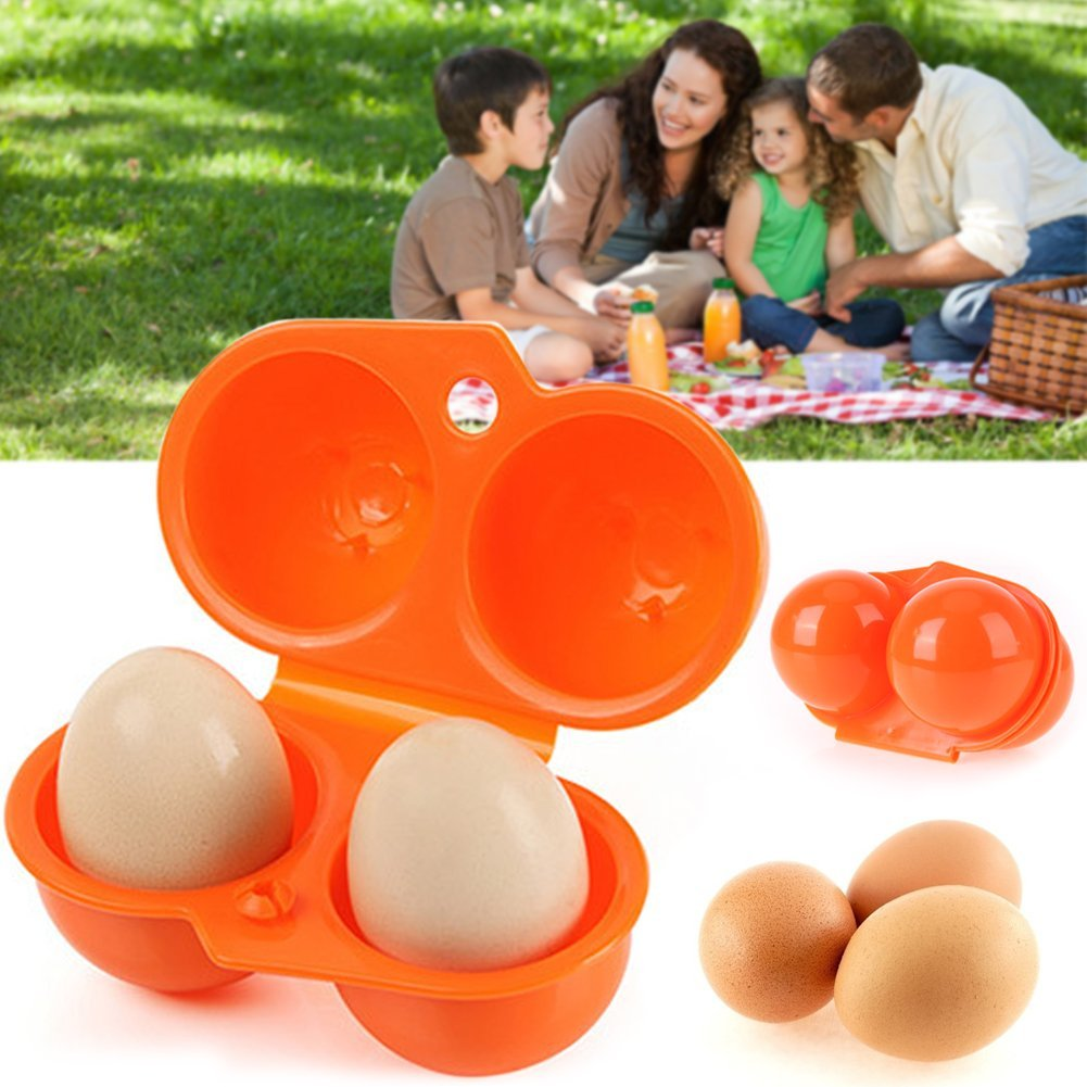 6 Cavities Folding Portable Plastic Egg Holder Storage Box Container Hiking Picnic Outdoor Camping Carrier for Egg Case with Handle Green 1pc
