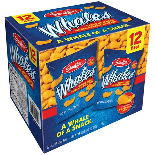 (3 Pack) Stauffer's Whales Cheddar Cheese Baked Snack Crackers, 1.5 oz, 12 ct