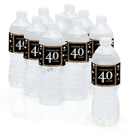Adult 40th Birthday - Gold - Birthday Party Water Bottle Sticker Labels - Set of 10
