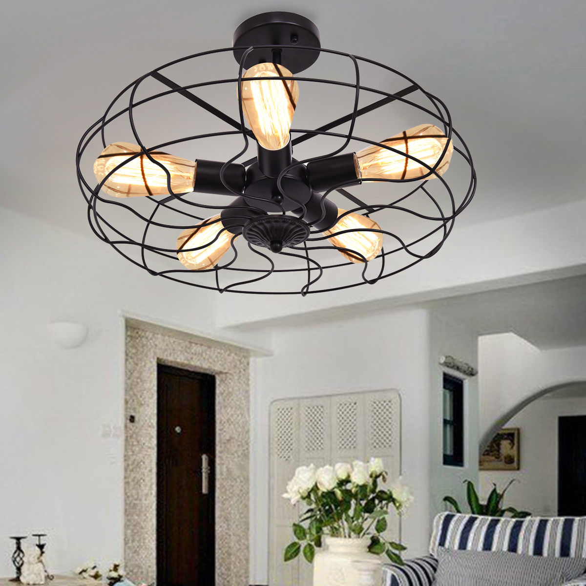 Gymax Industrial Vintage Semi Flush Mount Ceiling Light Metal Hanging Fixture 5-Light