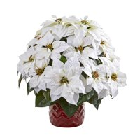 Nearly Natural 21in. White Poinsettia Artificial Arrangement in Red Vase