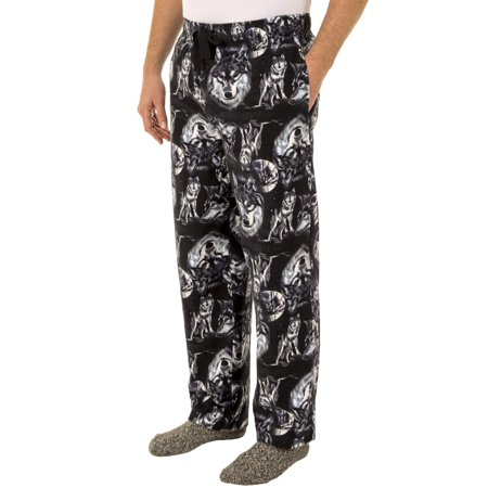 Fruit of the Loom Men's Wolf Print Flannel Sleep Pant ()