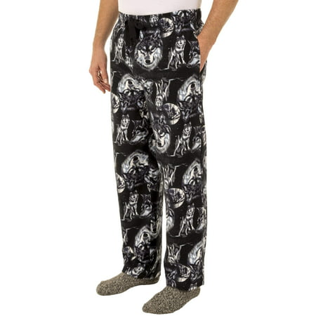 Flannel Pajamas For Men - Fruit of the Loom Men's Wolf Print Flannel Sleep Pant