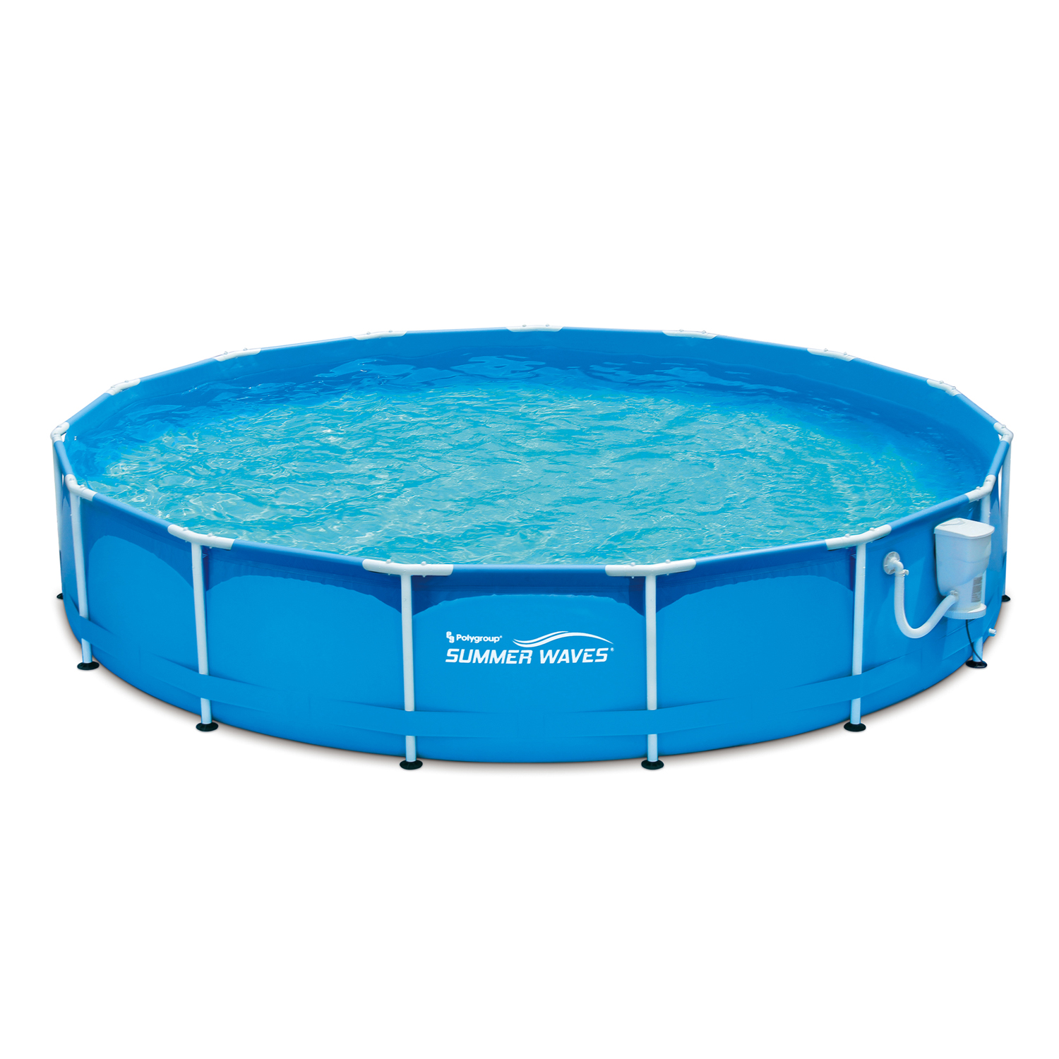 "Summer Waves 15' x 33"" Metal Frame Above Ground Swimming Pool with Filter Pump System"