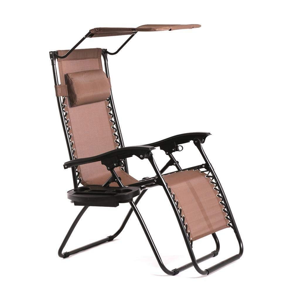 BestMassage Zero Gravity Chair Lounge Patio Chairs Outdoor With Canopy Cup Holder