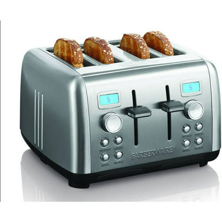 Farberware Stainless Steel Dual Control Digital 4 Slice Toaster