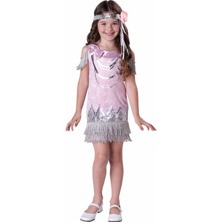 Girls Fancy Flapper Costume](Pink Flapper Girl Costume)
