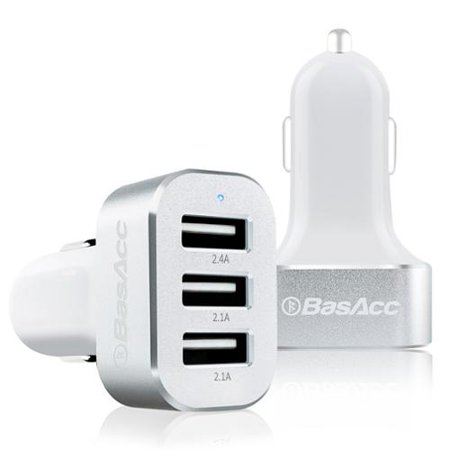 USB Car Charger by BasAcc 6.6A 3 Port USB Car Rapid Charger for iPhone XS XS Max XR X 8 7+ iPad Air Mini Pro Samsung Galaxy S9 S9+ S8 Note 9 Tab Tablet Smartphone High Output with Smart