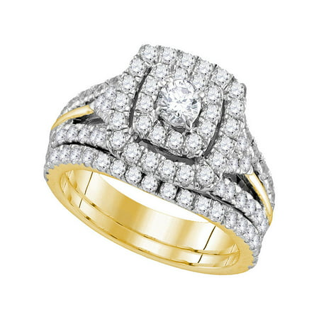 14kt Yellow Gold Womens Round Diamond Certified Double Halo Bridal Wedding Engagement Ring Band Set 1-7/8 Cttw - image 1 of 1