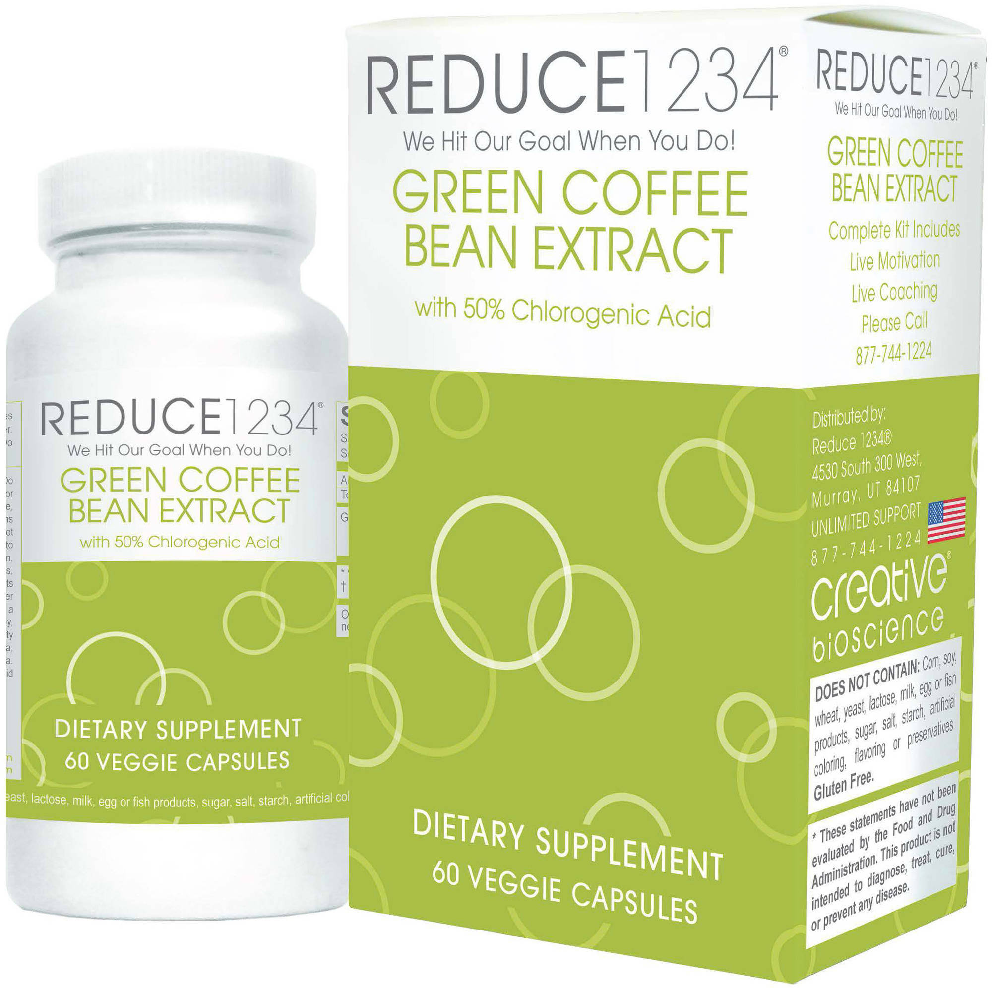 Creative Bioscience Reduce Green Coffee Bean Extract Capsules Dietary Supplement, 60 count