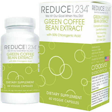 Creative Bioscience Reduce Green Coffee Bean Extract Capsules Dietary Supplement  60 Count