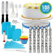 108pcs Cake Decorating Supplies Kit - 48 Piping Tips, 3 Cake Scrapers,12 cake cups - Piping Bags, Baking Supplies, Cupcake Decorating Kit, Icing Tips