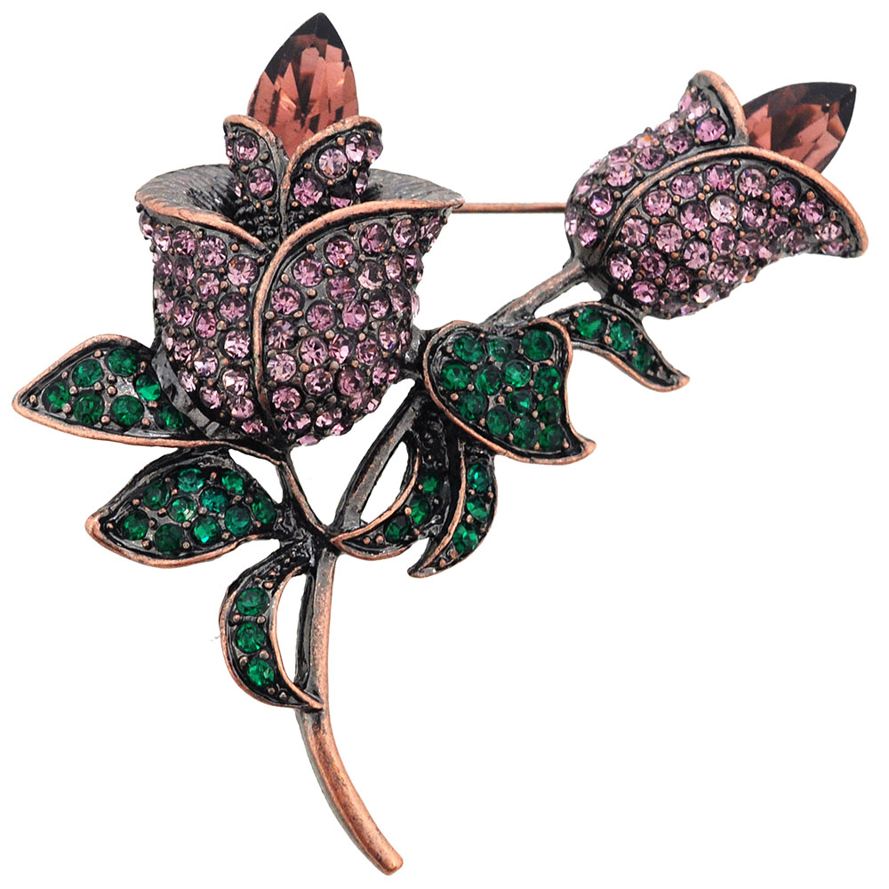 Amethyst Crystal Tulip Flower Pin Brooch by