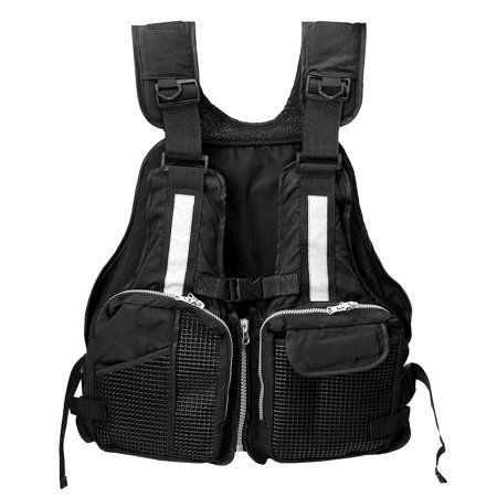Black Chest Life Vest (Grtsunsea Adult Universal Adjustable Fishing Life Jacket Boating Kayaking Watersports Life Vest with Multi-Pockets and Reflective Stripe - Black )