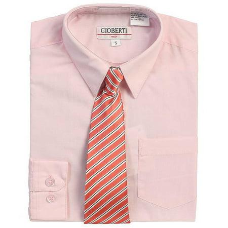Pink Button Up Dress Shirt Dark Pink Striped Tie Set Boys 5-18