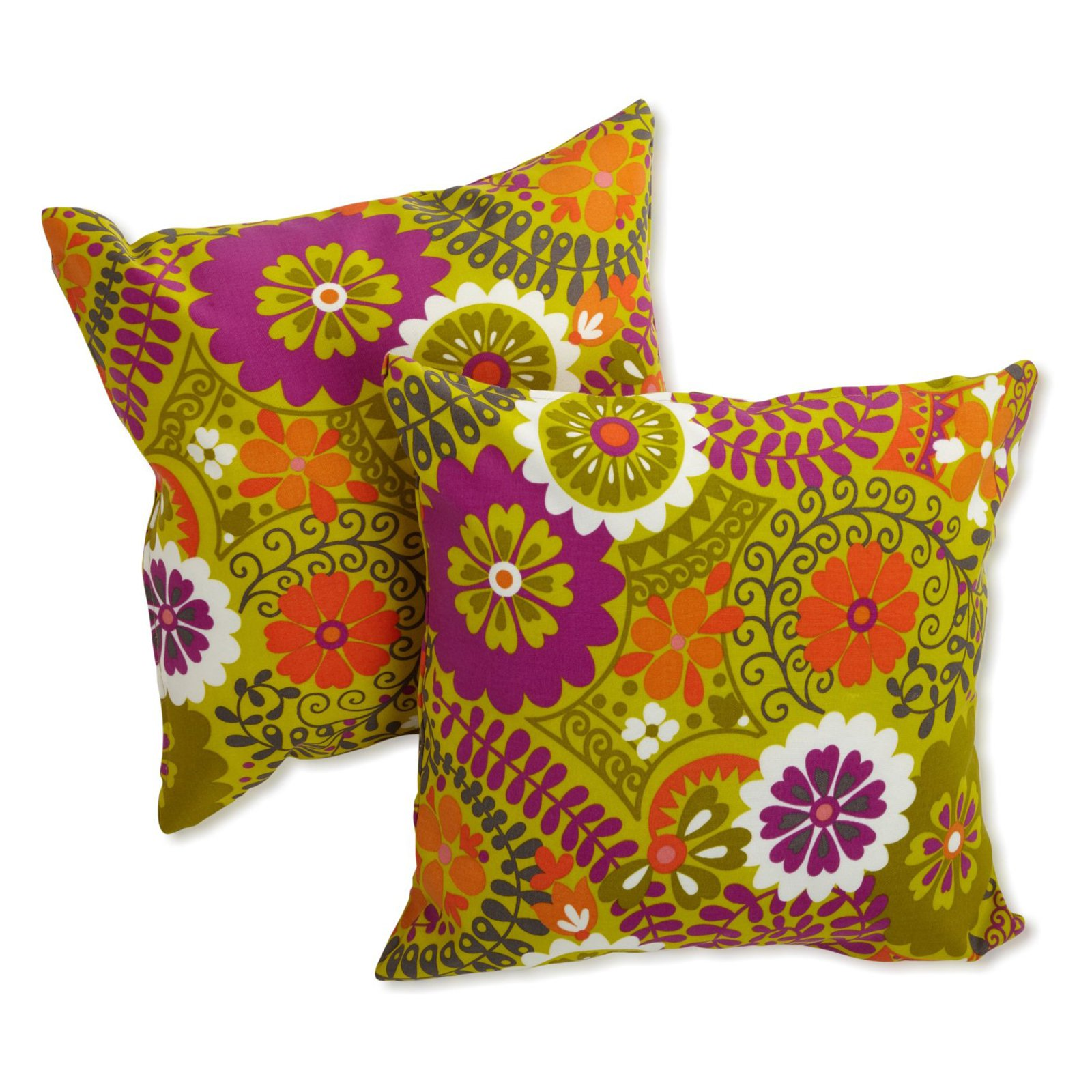 Blazing Needles 18 x 18 in. Patterned Outdoor Throw Pillows - Set of 2