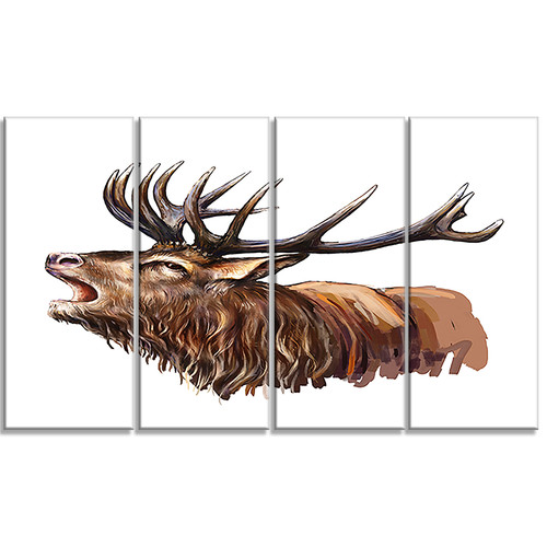 Design Art Deer Head Illustration Animal 4 Piece Graphic Art on Wrapped Canvas Set