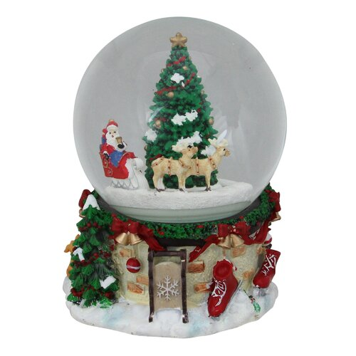 The Holiday Aisle Musical and Animated Santa on Sleigh with Christmas Tree Rotating Water Globe