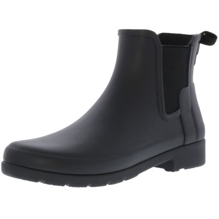 Hunter Women's Original Refined Chelsea Black High-Top Rubber Rain Boot - 8M (Rain Boot Chelsea)
