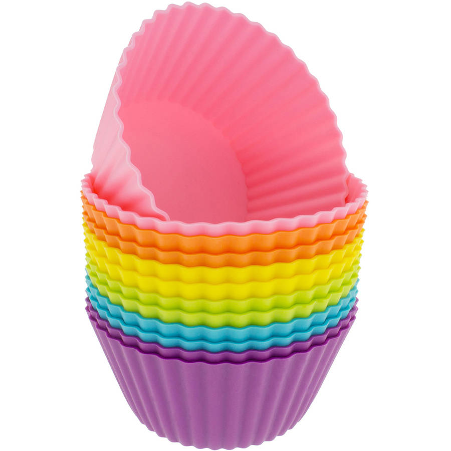 Freshware 12-Pack Jumbo Round Reusable Silicone Baking Cup, Rainbow Colors, CB-320SC