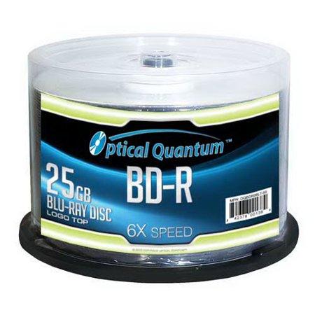 50 PC Optical Quantum 6x 25GB Blu-ray BD-R Logo Top Disc