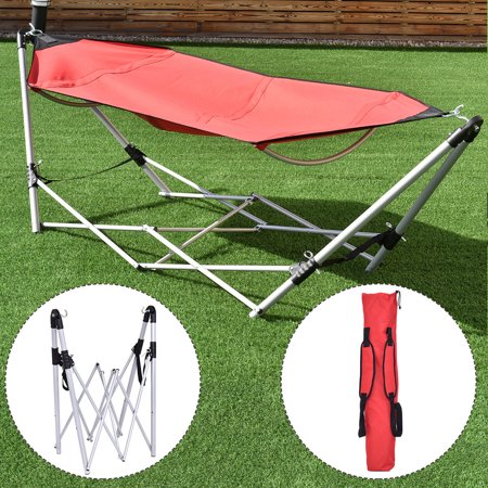 Costway Red Portable Folding Hammock Lounge Camping Bed Steel Frame Stand W/Carry Bag