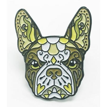 French Bulldog Brown White Sugar Skull Tattoo Breed Dog Lover Enamel Lapel - Sugar Skull Tatoo
