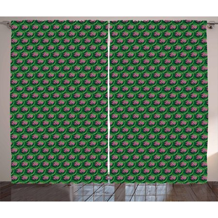 Thistle Curtains 2 Panels Set, Ornament of Curvy Branches and Petals as Fish Scale Pattern, Window Drapes for Living Room Bedroom, 108W X 108L Inches, Fern Green Lime Green and Pink, by Ambesonne Green Spiral Thistle
