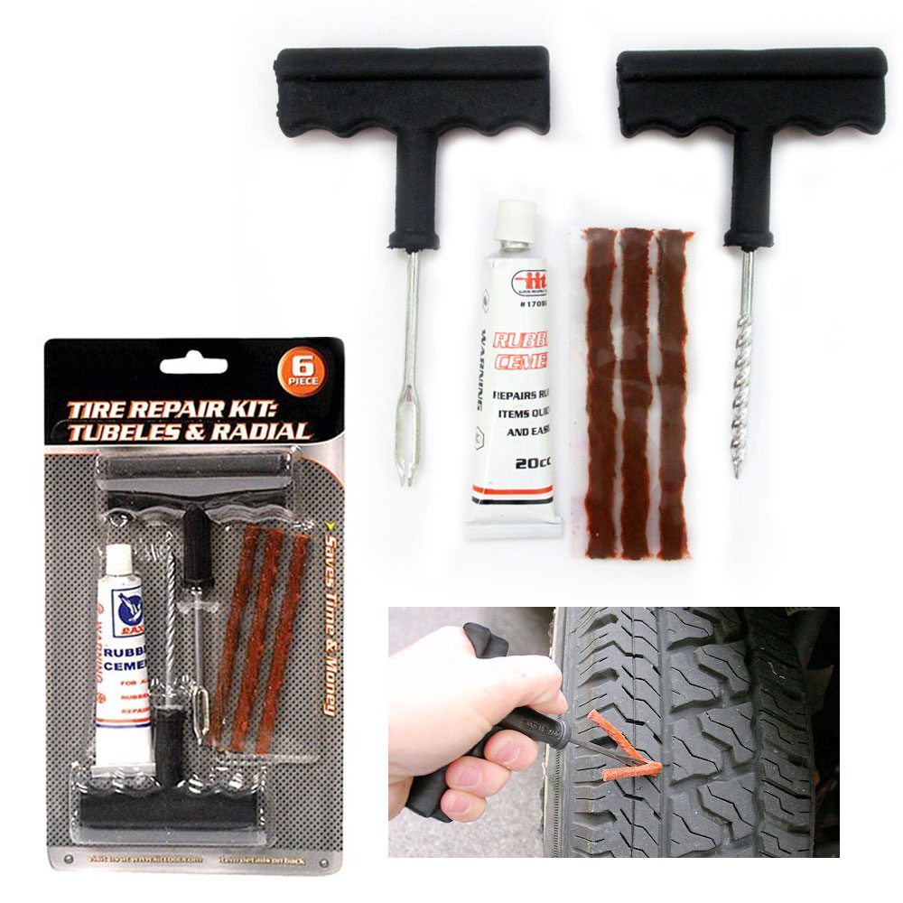 6 Pc Tire Repair Kit Tubeless Flat Tire Patch Car Rasp Plugs Tool Rubber Cement by JMK IIT