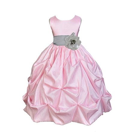 Ekidsbridal pink satin taffeta pick up bubble flower girl dresses ekidsbridal pink satin taffeta pick up bubble flower girl dresses junior toddler formal special occasions mightylinksfo