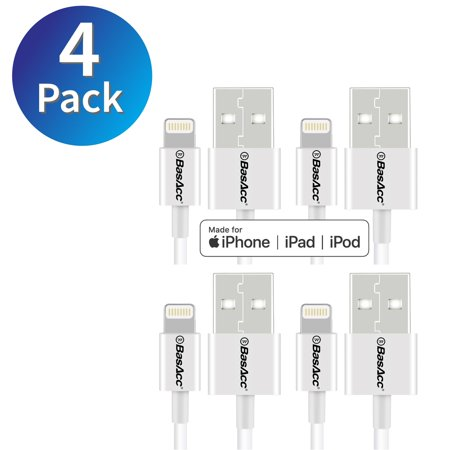 BasAcc 3' iPhone Charger Cable Apple MFi Certified Lightning to USB Cable Sync & Charge Cord 4-Pack - White for iPhone 7 6s 6 Plus SE 5s iPad Pro Mini Air iPod Touch 6th 5th Gen (4-Pack Bundle) (Ipod 5 Charger From Apple)
