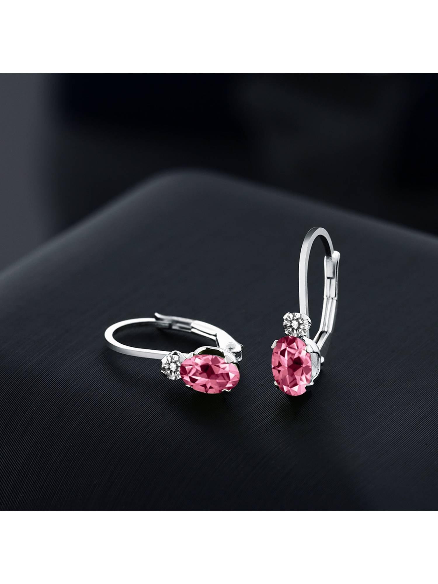 925 Sterling Silver Diamond Ring Set with Oval Pink Topaz from Swarovski